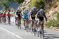 Dani Navarro (r) and Alberto Contador leading the group during the stage of La Vuelta 2012 between Barakaldo and Valdezcaray.August 21,2012. (ALTERPHOTOS/Paola Otero) /NortePhoto.com