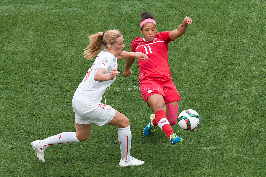 June 21, 2015: Desiree SCOTT of Canada kicks the ball during a round of 16 match between Canada and Switzerland at the FIFA Women's World Cup Canada 2015 at BC Place Stadium on 21 June 2015 in Vancouver, Canada. Canada won 1-0. Sydney Low/Asteriskimages.com