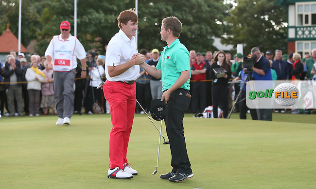 Jack Hume (IRL) earns the final half point as GB&amp;Ireland win The Walker Cup 2015 played at Royal Lytham and St Anne's, Lytham St Anne's, Lancashire, England. 13/09/2015. Picture: Golffile | David Lloyd<br /> <br /> All photos usage must carry mandatory copyright credit (&copy; Golffile | David Lloyd)
