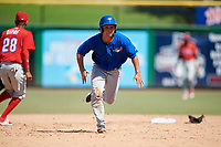 Toronto Blue Jays Cal Stevenson (18) runs to third base during a Florida Instructional League game against the Philadelphia Phillies on September 24, 2018 at Spectrum Field in Clearwater, Florida.  (Mike Janes/Four Seam Images)