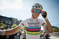 World Champion 2013: Rui Costa (POR) on the start podium<br /> <br /> La Flèche Wallonne 2014