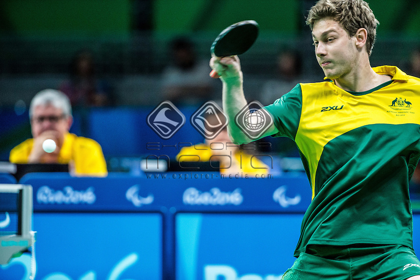 Samuel von Einem takes home the silver medal in a hard fought match in mens table tennis on day 5 at Riocentro Pavillion 3.<br /> 2016 Paralympic Games - RIO Brazil<br /> Australian Paralympic Committee<br /> Monday 12th September 2016<br /> &copy; Sport the library / Drew Chislett