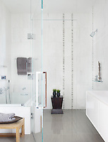 A contemporary tiled bathroom with a walk-in shower area.