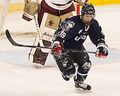 Evan Richardson (UConn - 19) - The Boston College Eagles defeated the visiting University of Connecticut Huskies 3-2 on Saturday, January 24, 2015, at Kelley Rink in Conte Forum in Chestnut Hill, Massachusetts.