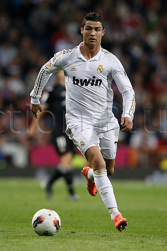 08.04.2012. Madrid, Spain.  La Liga matchday 32th  match played between Real Madrid CF vs Valencia (0-0) and falls to 4 points behind Barcelona, at Santiago Bernabeu stadium. The picture shows Cristiano Ronaldo (Portuguese forward of Real Madrid)