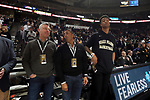 WINSTON-SALEM, NC - JANUARY 23: Atlanta Hawks co-owner Mit Shah (second from right) with Hawks player and former Wake Forest player John Collins (right). The Wake Forest University Demon Deacons hosted the Duke University Blue Devils on January 23, 2018 at Lawrence Joel Veterans Memorial Coliseum in Winston-Salem, NC in a Division I men's college basketball game. Duke won the game 84-70.