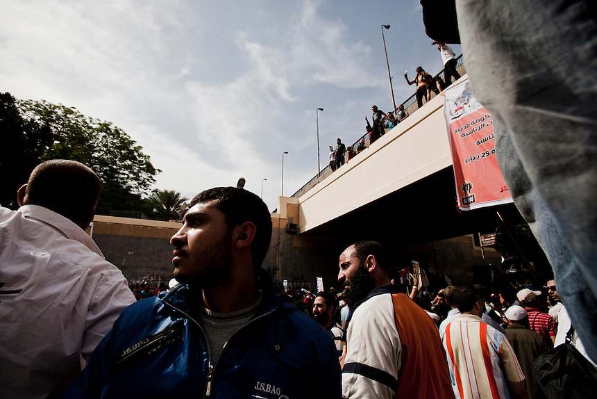 Egyptian protesters march toward the Egyptian Ministry of Defense in central Cairo's suburb of Abbaseya, March 4, 2012. Protesters marched on the MOD to demonstrate against over 20 deaths during a sit-in protest two days before. Photo: Ed Giles.