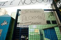 SÃO PAULO, SP, 25.11.2015 - PROTESTO-SP - Vista da escola estadual Maria José, ocupada pelos alunos em protesto contra a reforma escolar imposta pelo governador Geraldo Alckmin, na rua 13 de Maio no centro da cidade de São Paulo, nessa quarta-feria 25. ( Foto: Gabriel Soares/ Brazil Photo Press)