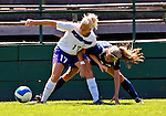 2 September 2007: University of Central Arkansas Sugar Bears' Lauren Carter (17), a Senior from Plano, Texas, battles University of New Hampshire Wildcats' Rhyan Radack (3), a Junior from Madbury, NH, at Historic Centennial Field in Burlington, Vermont. The Wilcats shut out the Sugar Bears 3-0 during the TD Banknorth Soccer Classic...Mandatory Photo Credit: Ed Wolfstein Photo