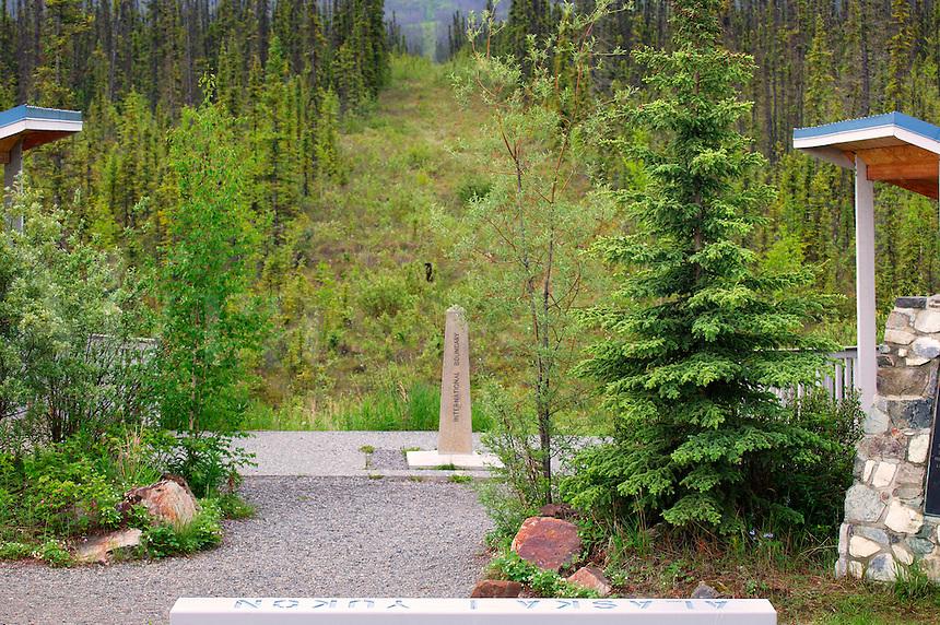 International border between Yukon Canada and Alaska, USA