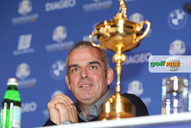 Paul McGinley (IRL) being announced as Captain for the European Ryder Cup Captain for the Ryder Cup 2014 which will be played over the PGA Centenary Course at Gleneagles, Perthshire, Scotland from 26th to 28th September 2014.Picture: Fran Caffrey/www.golffile.ie..