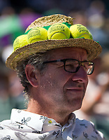 Fans with tennis ball hats on Court 1<br /> <br /> Photographer Ashley Western/CameraSport<br /> <br /> Wimbledon Lawn Tennis Championships - Day 3 - Wednesday 5th July 2017 -  All England Lawn Tennis and Croquet Club - Wimbledon - London - England<br /> <br /> World Copyright &not;&copy; 2017 CameraSport. All rights reserved. 43 Linden Ave. Countesthorpe. Leicester. England. LE8 5PG - Tel: +44 (0) 116 277 4147 - admin@camerasport.com - www.camerasport.com