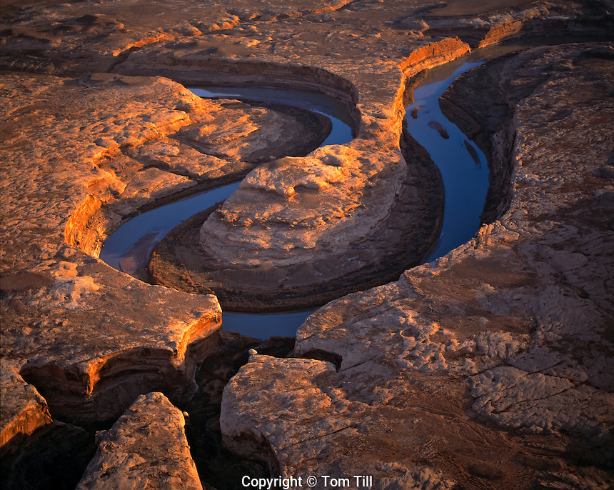 Aerial view of Trin-Alcove Bend, Green River, Labyrinth Canyon, Utah