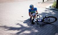 Alexandre Pichot (FRA/Total Direct Energie) crashed and hurt his knee. <br /> <br /> 94th Schaal Sels 2019<br /> One Day Race: Merksem  >  Merksem  (UCI 1.1)<br /> ©kramon