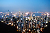 The stunning view from Victoria Peak on Hong Kong Island. The touristy Peak Tower attracts nearly 7 million visitors a year. It was renovated in 2006 to include new shops, restaurants, and attractions like Madame Tussaud's waxworks and EA Experience for interactive gamers..