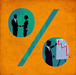 Conceptual shot of team in percentage sign representing their business growth rate