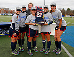 EASTON, MA - NOVEMBER 20: Shippensburg University players hold the trophy after their 2-1 win over LIU Post in the NCAA Division II Field Hockey Championship at WB Mason Stadium on November 20, 2016 in Easton, Massachusetts. (Photo by Winslow Townson/NCAA Photos via Getty Images)