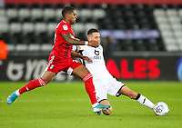 29th November 2019; Liberty Stadium, Swansea, Glamorgan, Wales; English Football League Championship, Swansea City versus Fulham; Ivan Cavaleiro of Fulham is tackled by Matt Grimes of Swansea City - Strictly Editorial Use Only. No use with unauthorized audio, video, data, fixture lists, club/league logos or 'live' services. Online in-match use limited to 120 images, no video emulation. No use in betting, games or single club/league/player publications