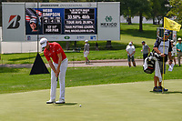 Webb Simpson (USA) watches his putt on 9 during 1st round of the World Golf Championships - Bridgestone Invitational, at the Firestone Country Club, Akron, Ohio. 8/2/2018.<br /> Picture: Golffile | Ken Murray<br /> <br /> <br /> All photo usage must carry mandatory copyright credit (© Golffile | Ken Murray)