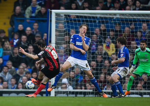 03.04.2015.  Ipswich, England. Skybet Championship. Ipswich Town versus AFC Bournemouth. Bournemouth's Harry Arter curls his shot just wide of the post.