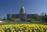 AJ4184, Frankfort, State Capitol, State House, Kentucky, Yellow and red tulips adorn the grounds of the State Capitol Building in the spring in the capital city of Frankfort in the state of Kentucky.