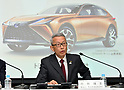 Toyota reports earnings at news conference at its head office