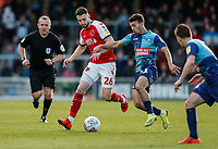 Fleetwood Town's James Husband competing with Wycombe Wanderers' Scott Kashket <br /> <br /> Photographer Andrew Kearns/CameraSport<br /> <br /> The EFL Sky Bet League One - Wycombe Wanderers v Fleetwood Town - Saturday 4th May 2019 - Adams Park - Wycombe<br /> <br /> World Copyright © 2019 CameraSport. All rights reserved. 43 Linden Ave. Countesthorpe. Leicester. England. LE8 5PG - Tel: +44 (0) 116 277 4147 - admin@camerasport.com - www.camerasport.com
