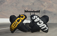 Oct. 28, 2012; Las Vegas, NV, USA: NHRA top fuel dragster driver Morgan Lucas during the Big O Tires Nationals at The Strip in Las Vegas. Mandatory Credit: Mark J. Rebilas-
