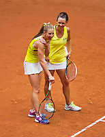 Netherlands, Den Bosch, April 18 2015 Maaspoort, Fedcup Netherlands-Australia,  Doubles: Jarmila Gajdosova and Olivia Rogowska (AUS)   <br /> Photo: Tennisimages/Henk Koster