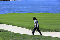 Arizona Cardinals wide receiver Larry Fitzgerald on the 6th hole at Pebble Beach Golf Links during Saturday's Round 3 of the 2017 AT&amp;T Pebble Beach Pro-Am held over 3 courses, Pebble Beach, Spyglass Hill and Monterey Penninsula Country Club, Monterey, California, USA. 11th February 2017.<br /> Picture: Eoin Clarke | Golffile<br /> <br /> <br /> All photos usage must carry mandatory copyright credit (&copy; Golffile | Eoin Clarke)