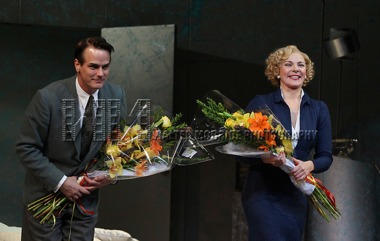 Paul Gross & Kim Cattrall.during the Opening Night Performance Curtain Call for 'Private Lives' at the Music Box Theatre in New York City on 11/17/2011.