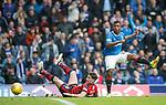 07.04.2018 Rangers v Dundee:<br /> The ball rebounds from Alfredo Morelos shot