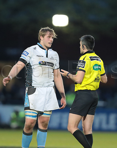 April 28th 2017,  Dublin, Leinster, Ireland; Guinness Pro12 rugby union, Leinster versus Glasgow Rugby;  Referee Marius Mitrea (Italy) talks to Jonny Gray (Co-Captain Glasgow)
