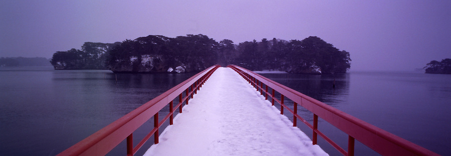 A Bridge, In Light Snow, To One Of Several Offshore Islands, Sendai, Japan.