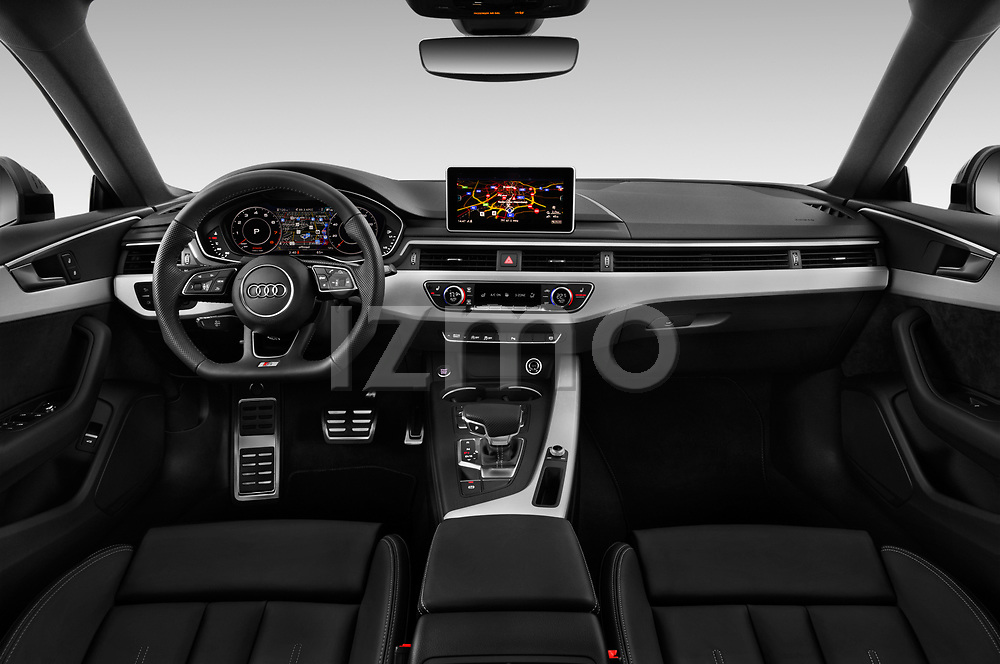 Stock photo of straight dashboard view of 2019 Audi A5-Sportback Premium 5 Door Hatchback Dashboard