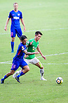 Jared Lum of Kitchee SC (L) fights for the ball with Wai Wong of Wofoo Tai Po (R) during the Hong Kong FA Cup final between Kitchee and Wofoo Tai Po at the Hong Kong Stadium on May 26, 2018 in Hong Kong, Hong Kong. Photo by Marcio Rodrigo Machado / Power Sport Images