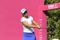Defending Champion Anna Nordqvist (SWE) tees off the 1st tee during Thursday's Round 1 of The Evian Championship 2018, held at the Evian Resort Golf Club, Evian-les-Bains, France. 13th September 2018.<br /> Picture: Eoin Clarke | Golffile<br /> <br /> <br /> All photos usage must carry mandatory copyright credit (© Golffile | Eoin Clarke)