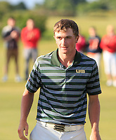 Paul Dunne (Greystones) on the 18th after winning the East of Ireland Amateur Open Championship 2013 Co Louth Golf club 3/6/13<br /> Picture:  Thos Caffrey / www.golffile.ie