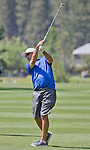 Greg Maddux, former MLB Hall of Fame pitcher, hits an approach shot at the Edgewood Tahoe Golf Course during the American Century Championship on Wednesday, July 16, 2014.