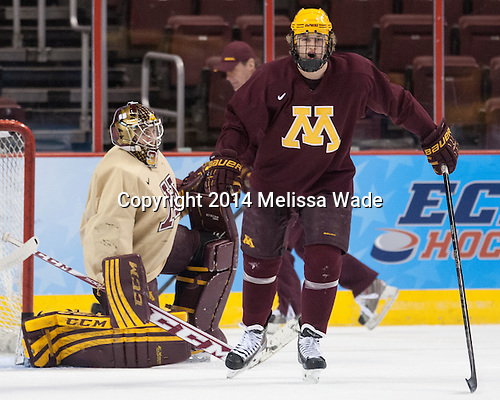 Hudson Fasching (MN - 24) - The University of Minnesota Golden Gophers practiced on Wednesday, April 9, 2014, at the Wells Fargo Center during the 2014 Frozen Four in Philadelphia, Pennsylvania.
