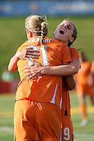 Laura Kalmari (21) of Sky Blue FC celebrates scoring with Heather O'Reilly (9). The Philadelphia Independence defeated Sky Blue FC 2-1 during a Women's Professional Soccer (WPS) match at John A. Farrell Stadium in West Chester, PA, on June 6, 2010.