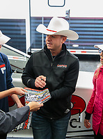 Feb 10, 2019; Pomona, CA, USA; NHRA top fuel driver Steve Torrence signs autographs during the Winternationals at Auto Club Raceway at Pomona. Mandatory Credit: Mark J. Rebilas-USA TODAY Sports