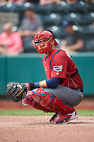 Lehigh Valley IronPigs catcher J.P. Arencibia (9) during a game against the Columbus Clippers on May 12, 2016 at Huntington Park in Columbus, Ohio.  Lehigh Valley defeated Columbus 2-1.  (Mike Janes/Four Seam Images)