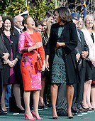 First Lady Michelle Obama and Mrs. Sophie Gr&eacute;goire Trudeau share a laugh during a ceremony at the White House for an Official Visit March 10, 2016 in Washington,D.C.  <br /> Credit: Olivier Douliery / Pool via CNP