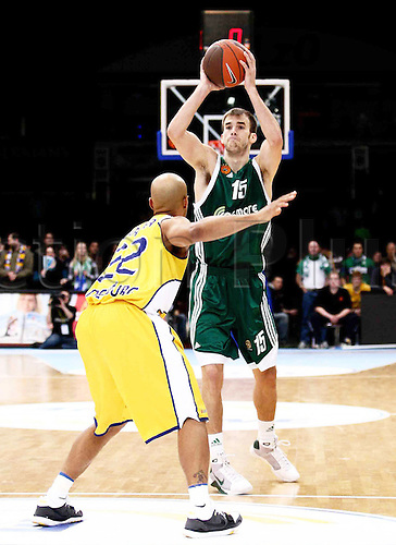 13 01 2010 Basketball Euro League ULEB Season  2010 EWE Baskets Oldenburg Panathinaikos Athens 64 to 67 Nick Calathes 15 Athens against Jason Gardner 22 Oldenburg Local