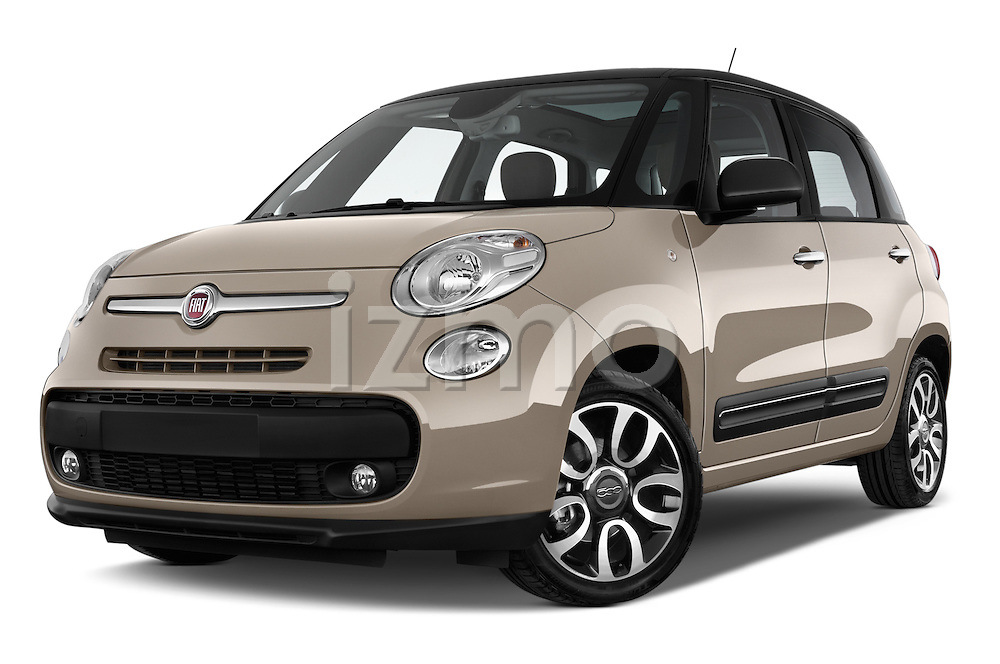 Stock pictures of low aggressive front three quarter view of a 2014 Fiat 500L Lounge 5 Door MPV
