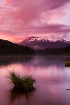 Thunderstorm sunset on Mt. Shasta over lake Siskiyou