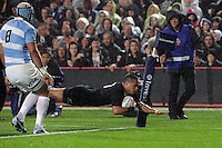 Aaron Smith scores his first try of the night  during the 2013 Rugby Championship - All Blacks v Argentina at Waikato Stadium, Hamilton, New Zealand on Saturday, 7th September   2013. Copyright Dion Mellow Photography. Credit DMP / Dion Mellow