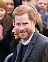 Prince Harry arrive at the Esplanade in front of the Edinburgh Castle in Edinburgh, on February 13, 2018, on their first official joint visit to Scotland Photo: Albert Nieboer / Netherlands OUT / Point De Vue Out - NO WIRE SERVICE - Photo: Albert Nieboer/RoyalPress/dpa /MediaPunch ***FOR USA ONLY***