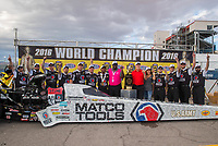 Oct 30, 2016; Las Vegas, NV, USA; NHRA top fuel driver Antron Brown and crew celebrate after clinching championship during the Toyota Nationals at The Strip at Las Vegas Motor Speedway. Mandatory Credit: Mark J. Rebilas-USA TODAY Sports